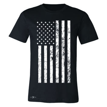 Distressed White American Flag Men's T-shirt Patriotic July,4 Tee