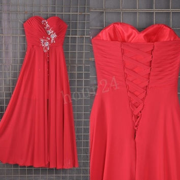 Hot Pink Beaded Front split  Bridesmaid Dresses, Prom Dresses, Party Dresses, Evening Dresses, Wedding Party Dresses, Bridesmaid Dresses