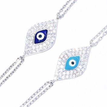 Charming Evil Eye CZ & Sterling Silver Bracelet