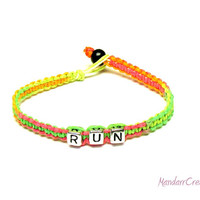 Neon Run Bracelet, Macrame Hemp Jewelry for Runners, Marathon, Fitness Motivation