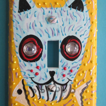 Cat with Fish Skeleton Day-of-the-Dead single light switchplate
