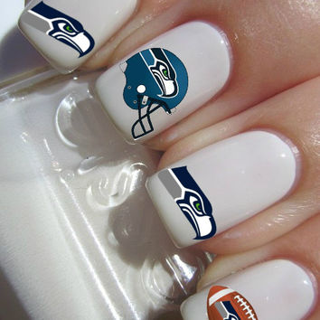 Seattle Seahawks NFL Football nail decals tattoos nail art