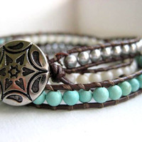 Ombre Wrap Turquoise White and Silver Leather by JulieEllynDesigns