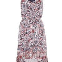 Patterned High-Low Dress With Ruffle Hem - Multi