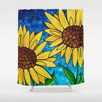 Garden Twins - Best friends...beautiful sunflowers by Labor of Love artist Sharon Cummings Shower Curtain by Sharon Cummings
