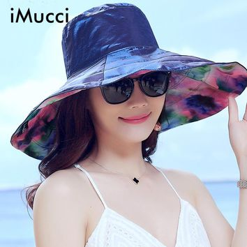iMucci New Fashion Bohemian Style High Quality Cloth Summer Sun Hat For Women Hat Large Visors Beach Silk Hat Brand Sun Cap