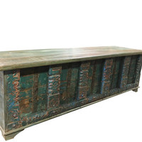 Vintage Trunk Blue Distressed Natural Wood Bench WINDOW Table CONSOLE Iron latch chest Old Pitara Rustic FARMHOUSE Bohemian Interior