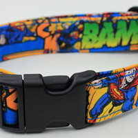 Superman Dog Collar Comic Size XS S M or L by xfauxpawsx on Etsy