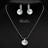 Austrian Crystal Necklace And Earrings Jewelry Sets Bridal Wedding Accessories Nickel Free  Women Fashion Jewelry Set (JS0049)