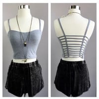 A Cutout Back Croptop in Grey
