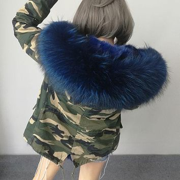 Hot 2016 brand new big raccoon natural real fur coats for women winter jacket women winter coat women parka Thick lining ukraine