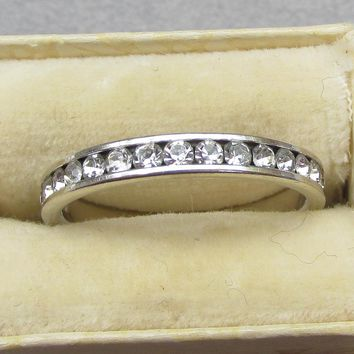 Vintage Sterling Silver Cubic Zirconia CZ Faux Diamond Eternity Band, Size 8