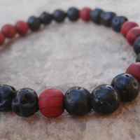 Black Lava Stone Bracelet with Red Wood, For Him