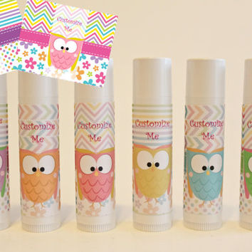 Owl Party Favors - Owl Lip Balm - Set of 6 - Free Customization - Cute Owl Favors - Owl Baby Shower - Owl Theme