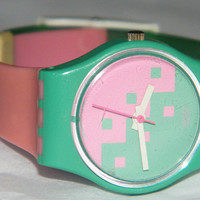 Vintage Ladies Fall Winter 1987 Swatch Swiss Pink Cassata LL102 Watch