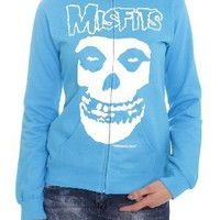 Misfits Fiend Skull Turquoise Girls Zip Hoodie Plus Size Size : XX-Large