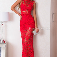 Lace Goddess Maxi Dress (Red) | Xenia Boutique | Women's fashion for Less - Fast Shipping