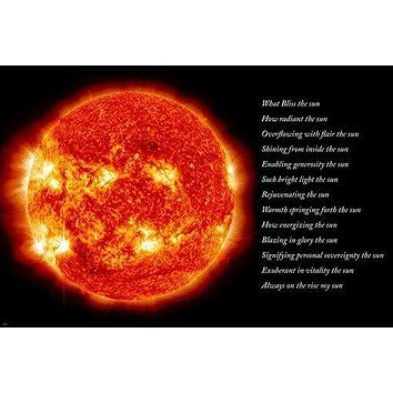 SUN WITH POEM ART POSTER bright orange literary DAZZLING rare new 24X36 BOLD