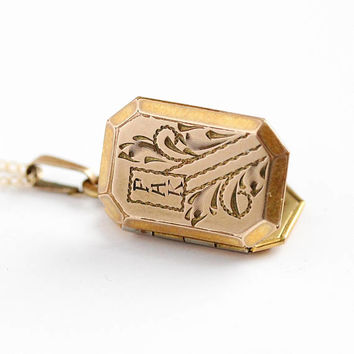 Vintage PHK Locket - 10k Rosy Yellow Gold Filled Rectangular Octagon Necklace - 1950s Mid Century Pendant Personalized Initials Jewelry