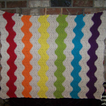 Crochet Cotton Chevron/Ripple Baby Blanket