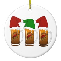 Tres Amigos Christmas Cerveza Ceramic Ornament