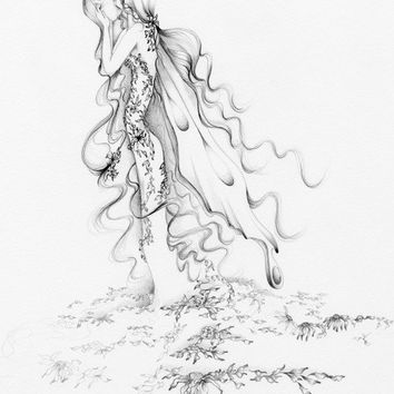 "Fairy Fantasy Fine Art Print of My Original pencil drawing ""Heartbroken"" a Grieving Fairy Sad Fairy Art drawing Illustration Grey ohtteam"
