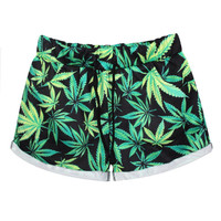 Women's Weed Print Shorts