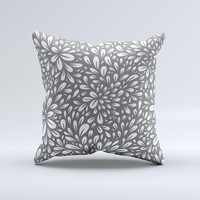 Gray & White Floral Sprout Ink-Fuzed Decorative Throw Pillow