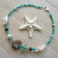 Shell Anklet, Blue and Green Seed Beads, Beach Jewelry, Nature Jewelry