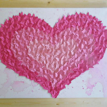 Pink Ombre Heart- 3D Butterfly Wall Art, Nursery Decor, Modern, Unique, Girl's Room, Gift Ideas, Gifts for Her, Heart, Love, Teen (16x20)