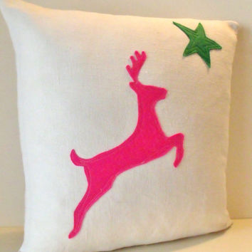 Large French linen  Art Deco Stag Hot Pink Felt Christmas Cushion Coussin Pillow Cover
