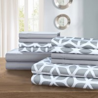 Davitt 12-Piece Bedding Sheet Set with 2 Bonus Pillowcases Gray Queen
