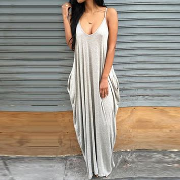 2018 Summer Long Maxi Dress Women Elegant Strap V-Neck Pockets Kaftan Robe Loose Boho Dresses Casual Vintage Beach Party Dress