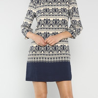Ornate in Navy Printed Shift Dress