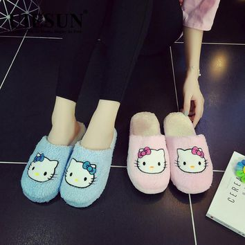 2017 Hot Selling Hello Kitty Woman Shoes Cotton Slippers Woman's Sandals Slipper Home