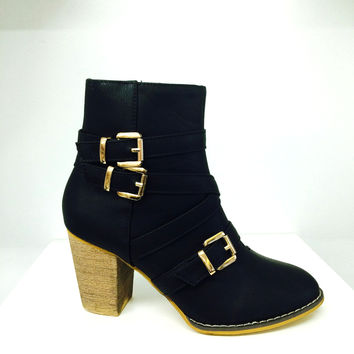 Layal Gold Buckle Booties