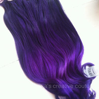 "Ombre Hair Extensions, Festival Hair, Purple Rain Ombre, Purple Hair, Bohemian Hair,(7) Piece, 16"", Katy Perry Inspired"