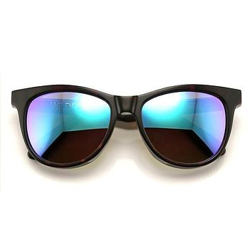 Wildfox - Catfarer Deluxe Tortoise Sunglasses, Green Mirror Lenses