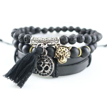Luxe Triple Bracelet Stack - Leather, Lava Stone & Yoga Charm