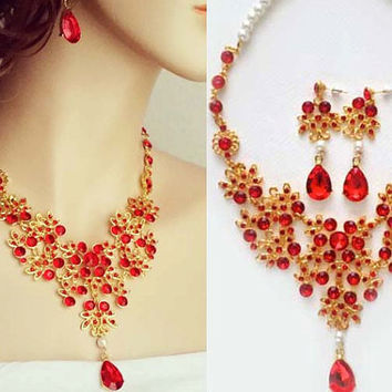 Red Bridal Jewelry Sets Wedding Necklace Earrings Pearls Drop Rhinestone