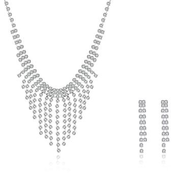 18K White Gold Plated Princess Cut Dangling Necklace & Earrings Set