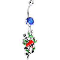 Blue Gem Love Never Dies Tattoo Charm Dangle Belly Ring   Body Candy Body Jewelry