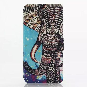 Aztec Elephant Leather Case Cover for iPhone 6S 6 Plus Samsung Galaxy S6-170928