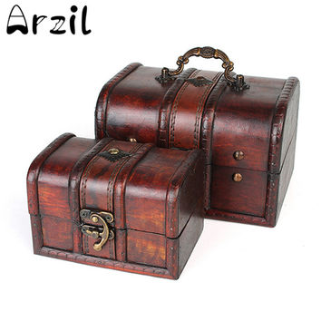 Vintage Jewelry Storage Box Wooden Organizer Case Metal Lock Wood Boxes Antique Retro Candy Container Cases