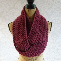 Infinity Scarf Crochet Knit Raspberry Women's Accessories Eternity Fall Winter