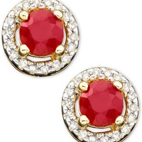 10k Gold Ruby (5/8 ct. t.w.) & Diamond (1/10 ct. t.w.) Earrings