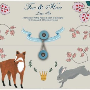 Fox & Hare Letter Set from Roger LaBorde, Writing Paper Set, Stationery Set, Letter Writing Paper | Toad Hollow