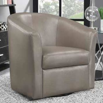 Champagne leather like vinyl upholstered barrel shaped accent side chair with swivel base