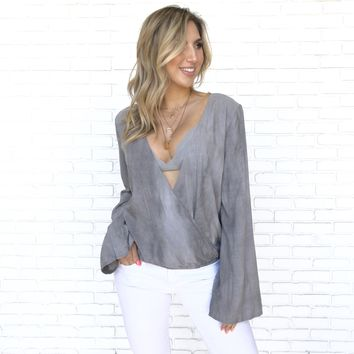Wrap Around Grey Long Sleeve Blouse