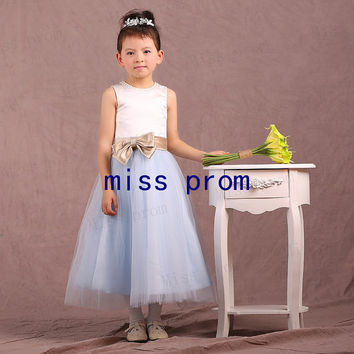Tea-length satin and tulle with sash and bow flower girl dress